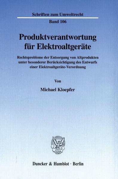 Produktverantwortung für Elektroaltgeräte. - Coverbild