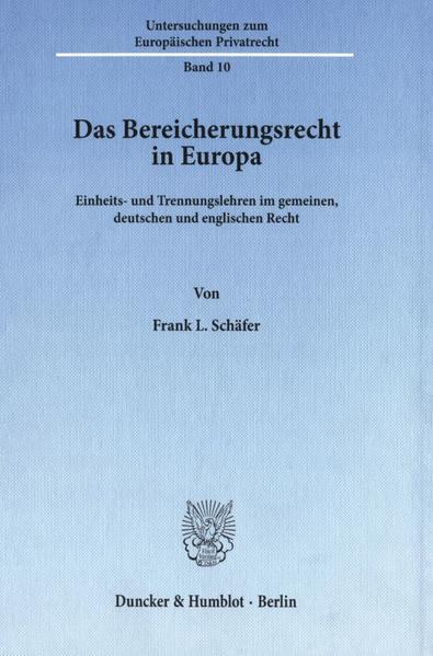 Das Bereicherungsrecht in Europa. PDF