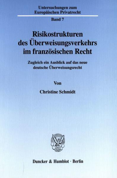 Risikostrukturen des Überweisungsverkehrs im französischen Recht. - Coverbild