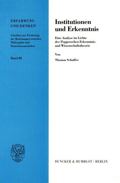 Institutionen und Erkenntnis. - Coverbild