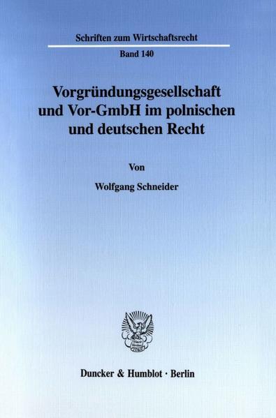 Vorgründungsgesellschaft und Vor-GmbH im polnischen und deutschen Recht. - Coverbild