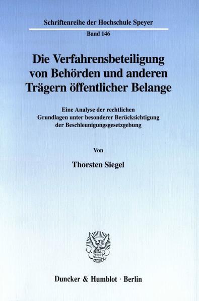 Die Verfahrensbeteiligung von Behörden und anderen Trägern öffentlicher Belange. - Coverbild