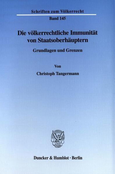 Die völkerrechtliche Immunität von Staatsoberhäuptern. - Coverbild