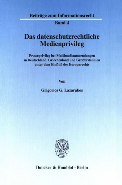 Das datenschutzrechtliche Medienprivileg. - Coverbild