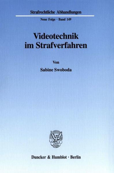 Videotechnik im Strafverfahren. - Coverbild