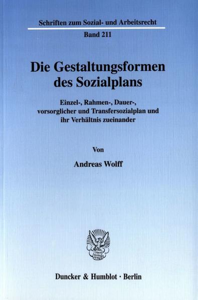 Die Gestaltungsformen des Sozialplans. - Coverbild