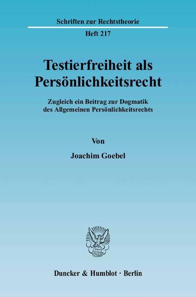 Testierfreiheit als Persönlichkeitsrecht. - Coverbild