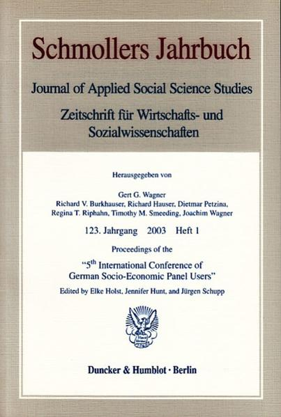 Proceedings of the »5th International Conference of German Socio-Economic Panel Users«. - Coverbild
