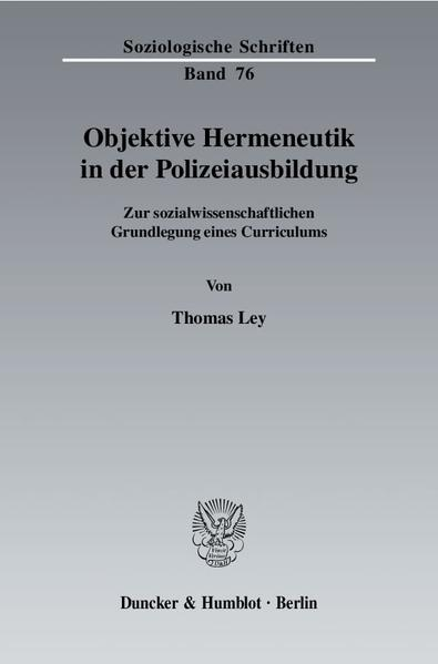 Objektive Hermeneutik in der Polizeiausbildung. - Coverbild