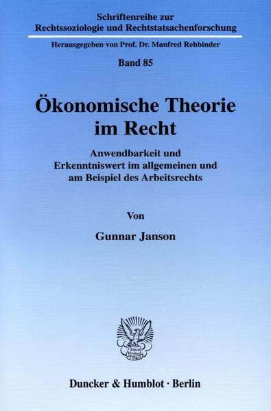 Ökonomische Theorie im Recht. - Coverbild