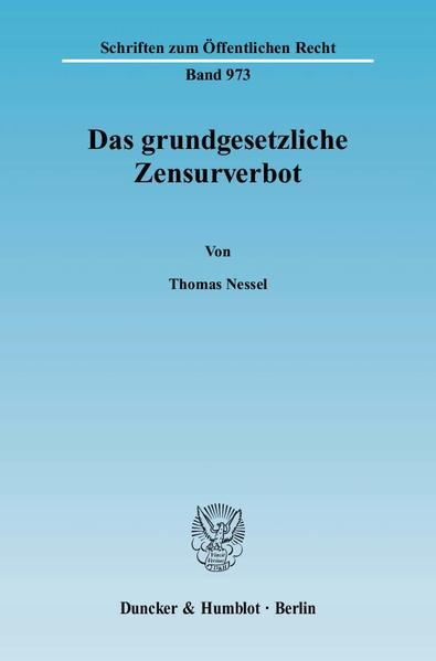 Das grundgesetzliche Zensurverbot. - Coverbild