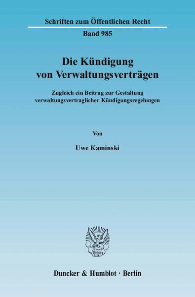 Die Kündigung von Verwaltungsverträgen. - Coverbild