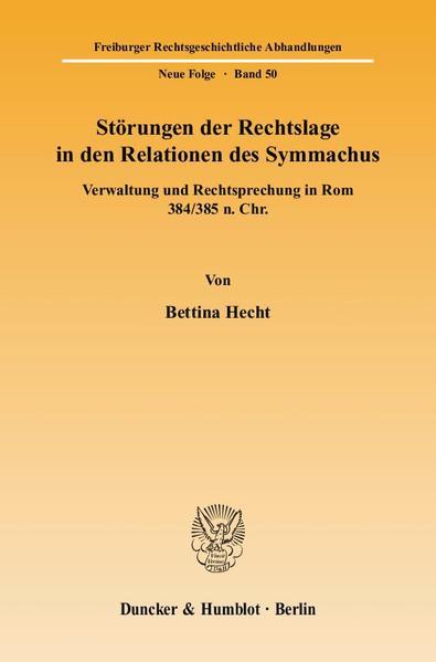 Störungen der Rechtslage in den Relationen des Symmachus. - Coverbild