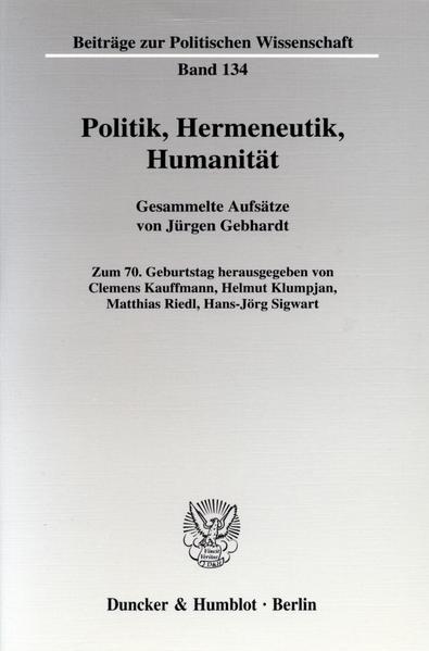 Politik, Hermeneutik, Humanität. - Coverbild