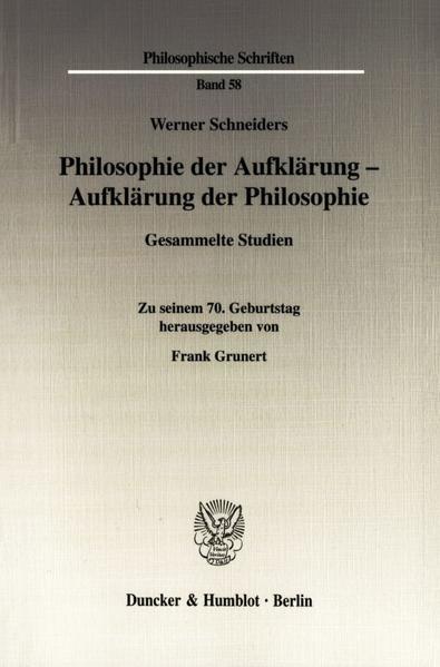 Philosophie der Aufklärung - Aufklärung der Philosophie. - Coverbild