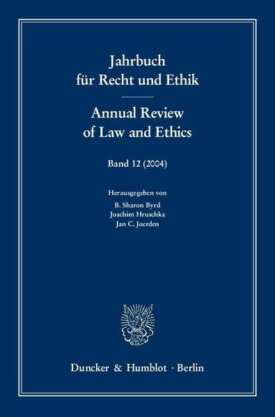 Jahrbuch für Recht und Ethik / Annual Review of Law and Ethics. - Coverbild