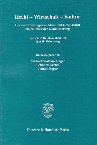 Recht - Wirtschaft - Kultur. - Coverbild