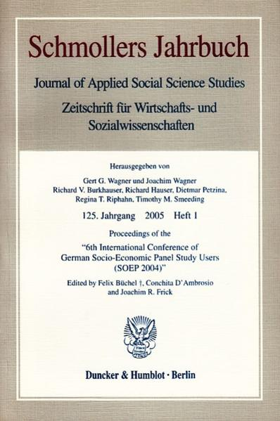 Proceedings of the »6th International Conference of German Socio-Economic Panel Study Users (SOEP 2004)«. - Coverbild