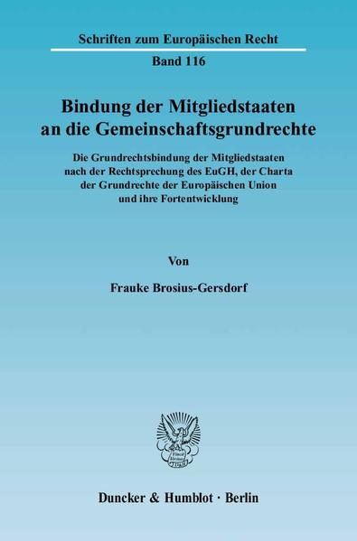 Bindung der Mitgliedstaaten an die Gemeinschaftsgrundrechte. - Coverbild