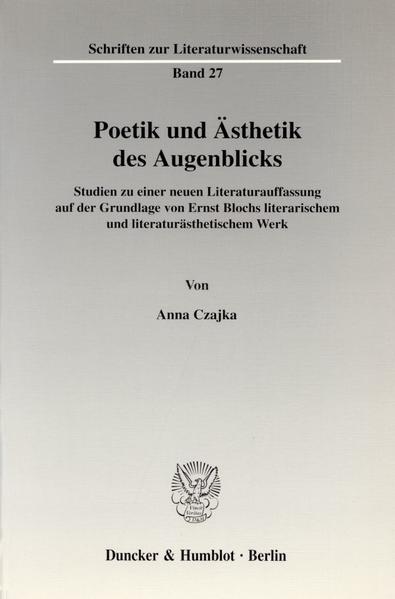 Poetik und Ästhetik des Augenblicks. - Coverbild