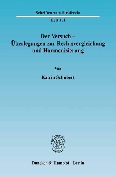 Der Versuch - Überlegungen zur Rechtsvergleichung und Harmonisierung. - Coverbild