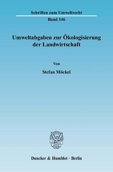Umweltabgaben zur Ökologisierung der Landwirtschaft. - Coverbild