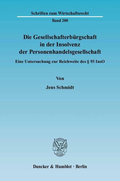 Die Gesellschafterbürgschaft in der Insolvenz der Personenhandelsgesellschaft. - Coverbild