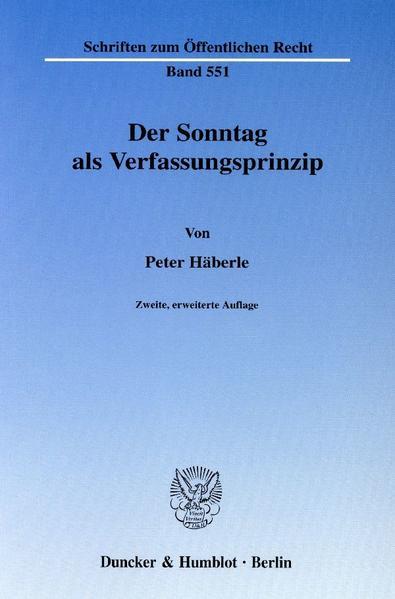 Der Sonntag als Verfassungsprinzip. - Coverbild