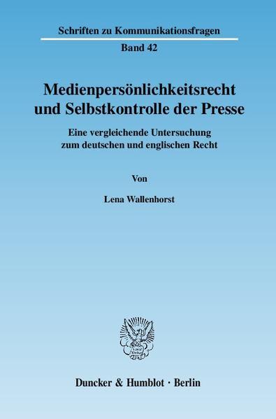Medienpersönlichkeitsrecht und Selbstkontrolle der Presse. - Coverbild