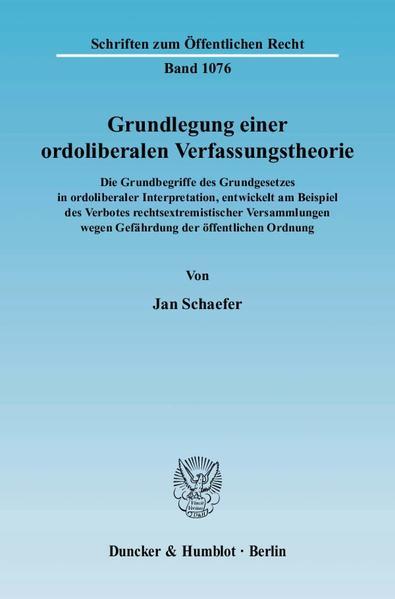 Grundlegung einer ordoliberalen Verfassungstheorie. - Coverbild