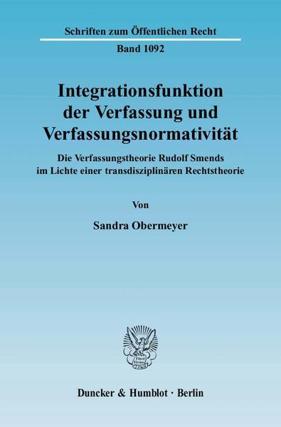 Integrationsfunktion der Verfassung und Verfassungsnormativität. - Coverbild
