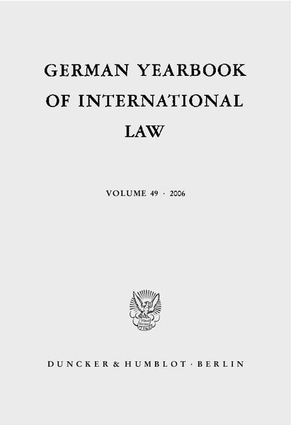 German Yearbook of International Law / Jahrbuch für Internationales Recht. - Coverbild