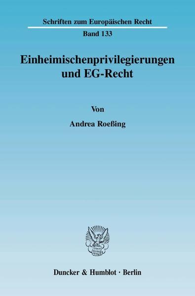 Einheimischenprivilegierungen und EG-Recht. - Coverbild