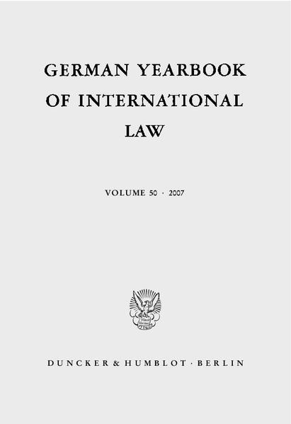 German Yearbook of International Law / Jahrbuch für Internationales Recht. - Coverbild