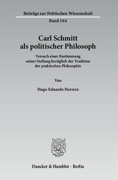 Carl Schmitt als politischer Philosoph. - Coverbild
