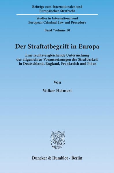 Der Straftatbegriff in Europa. - Coverbild