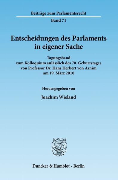 Entscheidungen des Parlaments in eigener Sache. - Coverbild