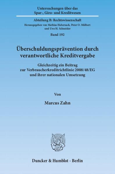 Überschuldungsprävention durch verantwortliche Kreditvergabe. - Coverbild