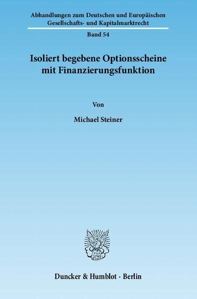Isoliert begebene Optionsscheine mit Finanzierungsfunktion. - Coverbild
