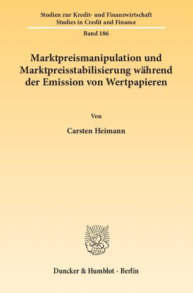 Marktpreismanipulation und Marktpreisstabilisierung während der Emission von Wertpapieren. - Coverbild