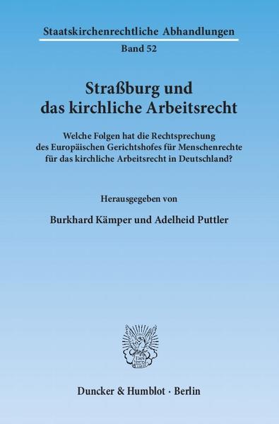 Straßburg und das kirchliche Arbeitsrecht. - Coverbild