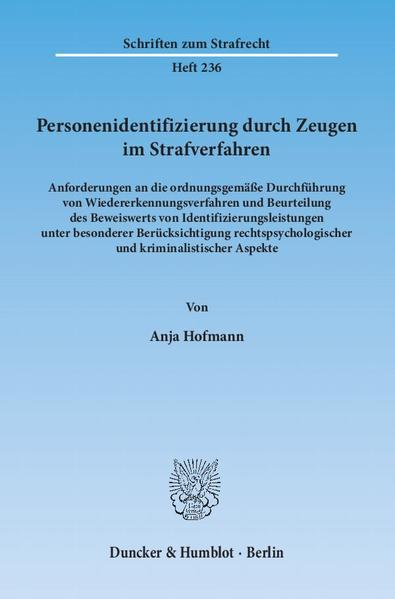 Personenidentifizierung durch Zeugen im Strafverfahren. - Coverbild