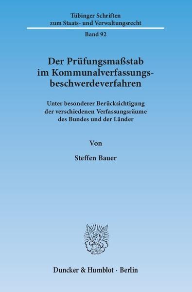 Der Prüfungsmaßstab im Kommunalverfassungsbeschwerdeverfahren. - Coverbild