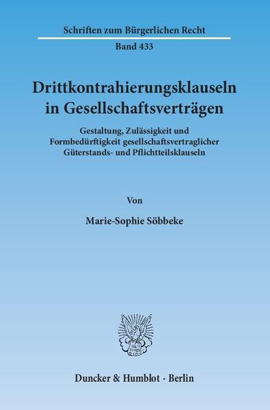 Drittkontrahierungsklauseln in Gesellschaftsverträgen. - Coverbild