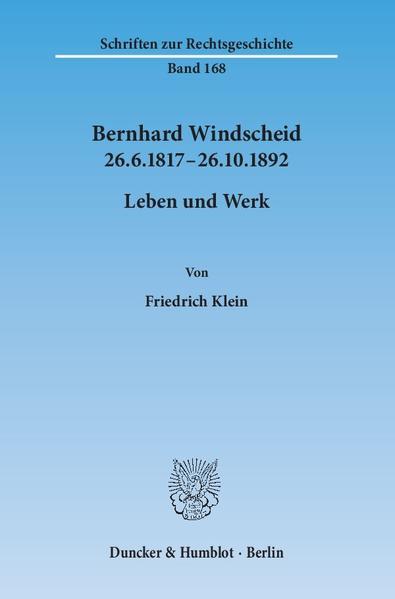 Bernhard Windscheid 26.6.1817–26.10.1892. - Coverbild