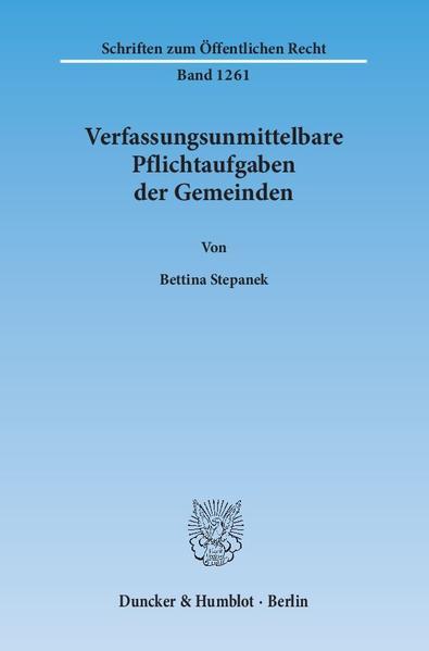 Verfassungsunmittelbare Pflichtaufgaben der Gemeinden. - Coverbild