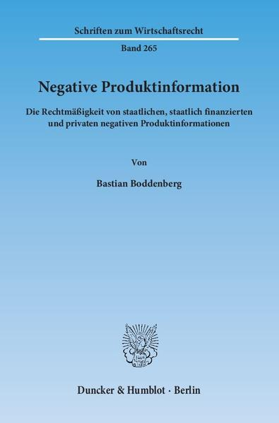 Negative Produktinformation. - Coverbild