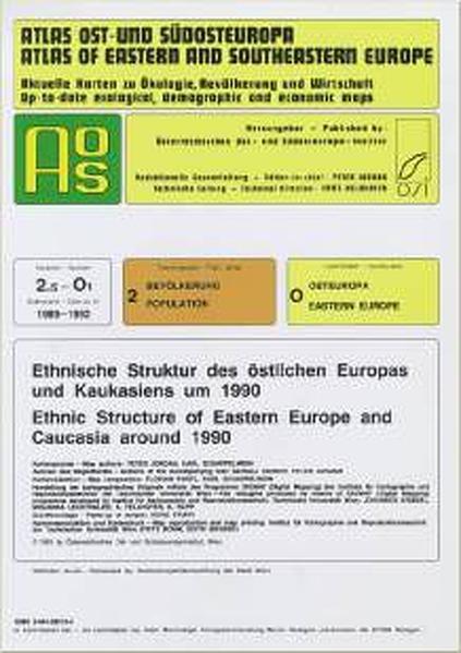 Atlas Ost- und Südosteuropa /Atlas of Eastern and Southeastern Europe.... / Nr 2: Bevölkerung /Population / Ethnische Struktur des östlichen Europas und Kaukasiens um 1990 /Ethnic Structure of Eastern Europe and Caucasia around 1990 - Coverbild