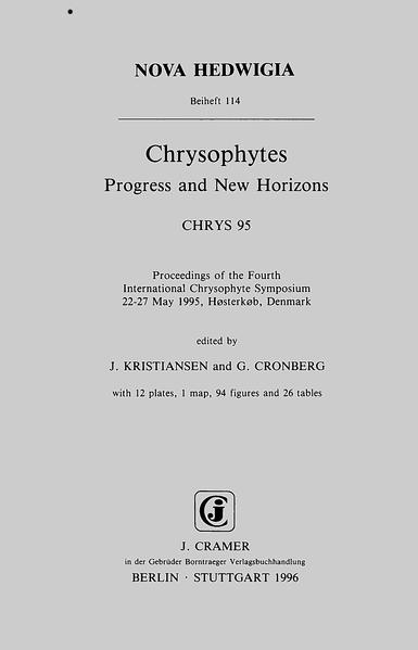Chrysophytes. Progress and New Horizons. CHRYS 95 - Coverbild