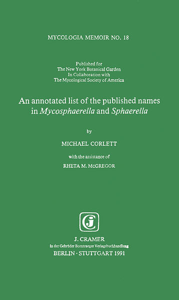 An annotated list of the published names in Mycosphaerella and Sphaerella - Coverbild